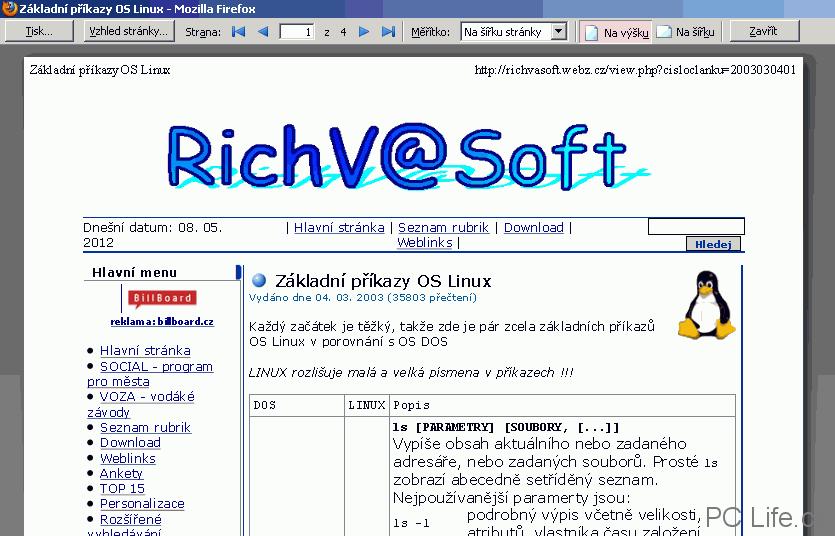 Náhled vybrané webové stránky ve Firefoxu
