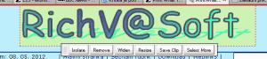 Pracovní menu pro práci s prvky stránky