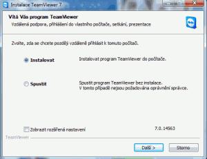 Instalační okno aplikace TeamViewer