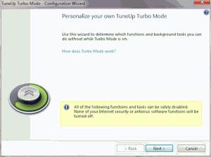 Náhled okna pro Turbo režim