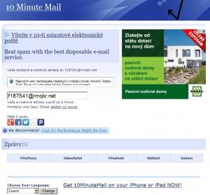Okamžitě získáte vygenerovanou e-mailovou adresu a přístup do schránky