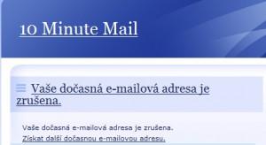 Po vypršení platnosti schránky je možné ihned vygenerovat nový e-mail