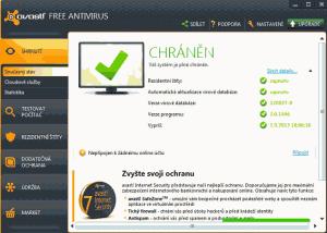 Základní okno programu Avast! Free Antivirus