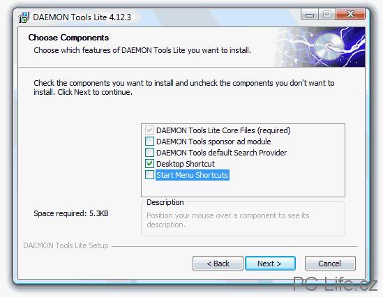 Při instalaci je možné zvolit si vlastní součásti programu