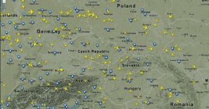 Základní pohled na mapu letového provozu