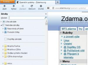 Panel záložek ve Firefoxu