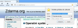 Odsouhlasení záložky ve Firefoxu