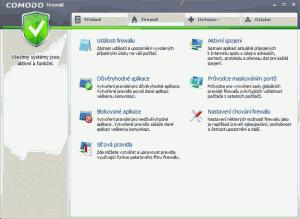 Náhled záložky Firewall
