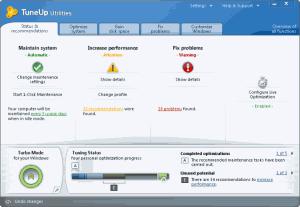 Hlavní okno programu TuneUp Utilities 2011