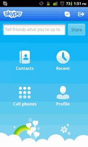 Náhled hlavního menu v chytrém telefonu
