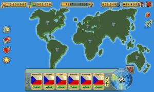 Mapa světa s jednotlivým kontinenty