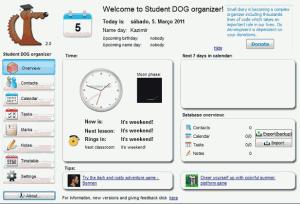 Hlavní stránka programu Student dog organizer