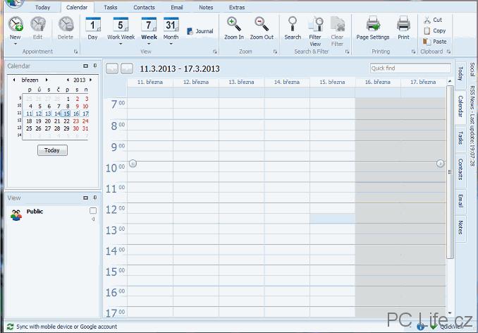 Záložka kalendáře v programu