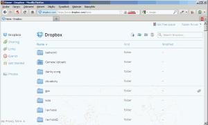 Dropbox v prohlížeči