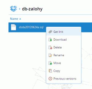 Kontextové menu pro soubor