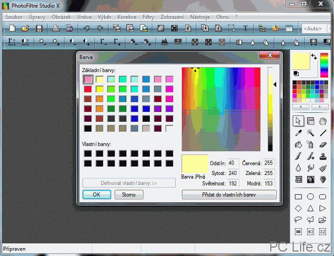 Barevné spektrum pro výběr vlastní barvy