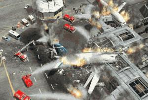 Hašení rozsáhlého požáru na letišti