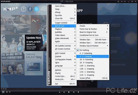 Nabídky kontextového menu přehrávače