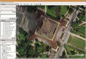 Eiffelova vež v Google Earth