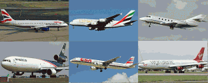 Obrázky různých typů letadel