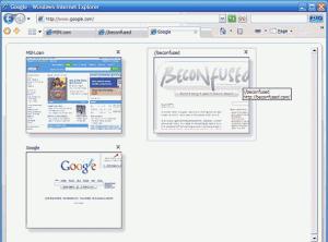Organizace aktivních oken v prohlížeči