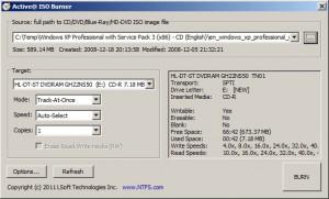 Zvolený ISO soubor k vypálení, stačí stisknout BURN