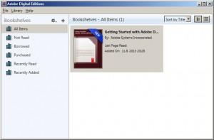 Nabízená příručka k používání programu a Bookshelves ke správě e-knih.