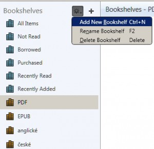 Práce s bookshelves a vytvoření nových ke třídění souborů.