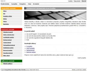 Základní info a menu anatomického atlasu LF UPOL