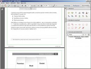 Veškeré nástroje pro textové i grafické poznámky najdeme v panelu Poznámka