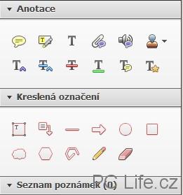 Dvě sekce panelu nabízí vše pro textové i grafické anotace
