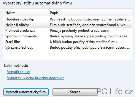 Automatický střih filmu s 6 předvolbami