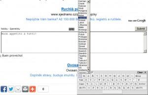 Klávesnice na obrazovce k zápisu jiných písem a netypických znaků