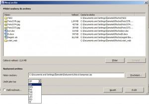 Tvorba nového archivu je snadná a nabízí 7 dostupných formátů včetně ISO či SFX