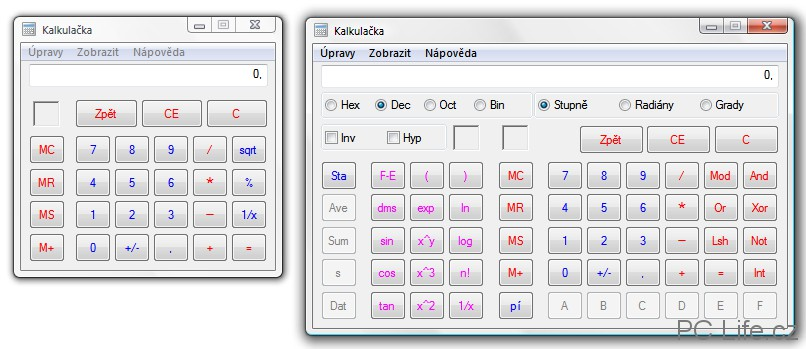 Standardní a vědecké rozložení Kalkulačky
