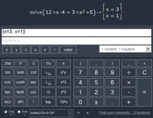 Řešení kořenů nehomogenní kvadratické rovnice