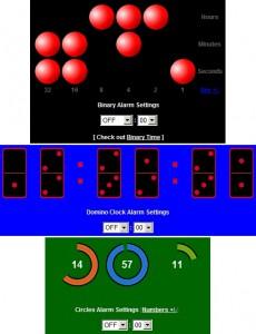 Netradiční binární, dominové a kruhové hodiny