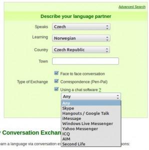 Hledání vhodného jazykového partnera