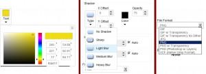 Možnosti nastavení barev, stínování a výstupního formátu