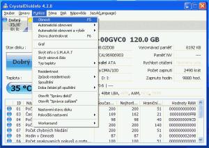 Nabídka Funkce programu CrystalDiskInfo