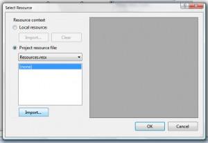 Přichází na řadu stěžejní krok importu .resx souboru jako prostředek