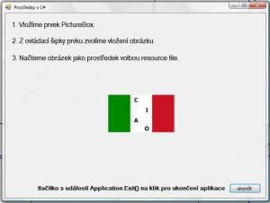 Zkompilovaná a spuštěná WinForms aplikace s námi zobrazeným obrázkem