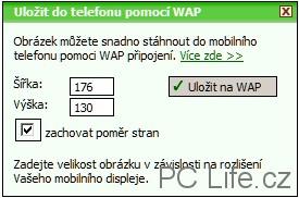 V dnešní době WAP patrně nevyužijeme, přesto tato funkce zde je