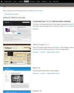 Vzhledy pro web nainstalované v Drupalu