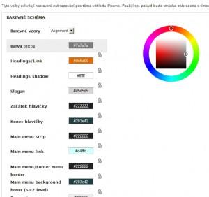 U šablon lze nastavovat vlastní barevné schéma dle libosti