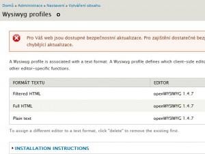 Jedna z možností modulů je např. WYSIWYG editor pro obsah