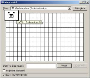 Vytvořený znak k použití v programu Mapa znaků