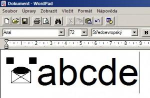 Použití nového znaku v editoru WordPad