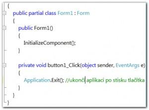 Programování události Application.Exit po stisku tlačítka v C# kódu