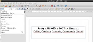 Písma z MS Office 2007 v LibreOffice v Lubuntu